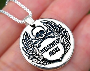 MEMENTO MORI skull necklace Sterling Silver jewelry pendant Crossbones Wings Silver necklace Silver pendant Skull jewelry Wax seal N-144
