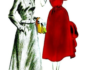 1950s Couture Dress Pattern - VOGUE 7585 - 1951 Shawl Collar Dress with Six-Piece Skirt & Matching Jacket - UNCUT, Factory Folded - Bust 30