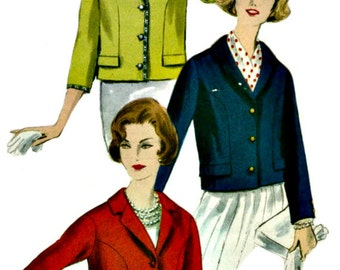 1950s Classic Jacket Pattern  VOGUE 9799 1959 Retro Sewing Pattern  MAD MEN Bust 32