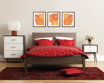 Modern Flowers Art Prints - Succulent Art Prints - Flower Trio Wall Art - Multi Panel - Summer Decor - Tangerine Orange