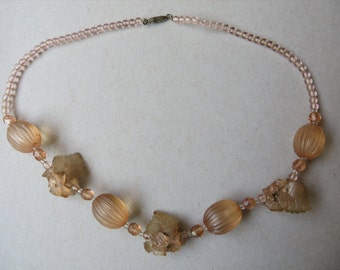 Vintage Late 40's Pretty English Plastic Bead Necklace with Flowers & Leaf Bunches, translucent Dark Peach