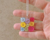 Bright Buttons Pendant, Primary Color Buttons in a Resin Necklace, Recycled, Upcycled, Repurposed, Resin Jewelry, Button Jewelry, UK (1793)