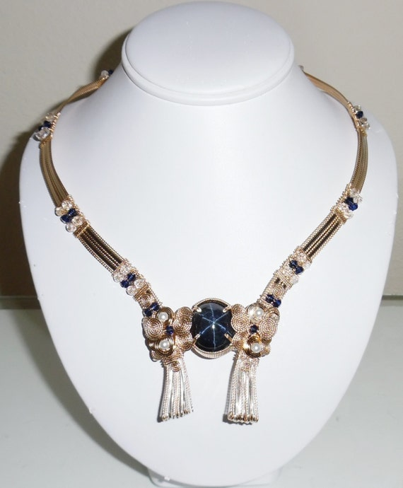 """CLEARANCE, 51ct NATURAL 6 Star Sapphire gemstone, 14kt yellow gold 20"""" Necklace"""