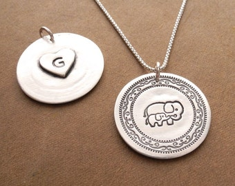 Personalized Mother and Baby Elephant Necklace, Heart Monogram, New Mom Necklace, Fine Silver, Sterling Silver Chain, Made To Order
