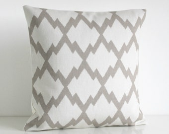 Ikat Pillow Cover, Ikat Pillow Sham, 16 Inch Pillow Cover, 16x16 Throw Pillow, Cushion Cover, Accent Pillow, Pillow - Ikat Trellis Oatmeal
