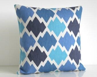 Ikat Pillow Cover, 16x16 Throw Pillow, 16 Inch Ikat Cushion Cover - Ikat Trellis Blue