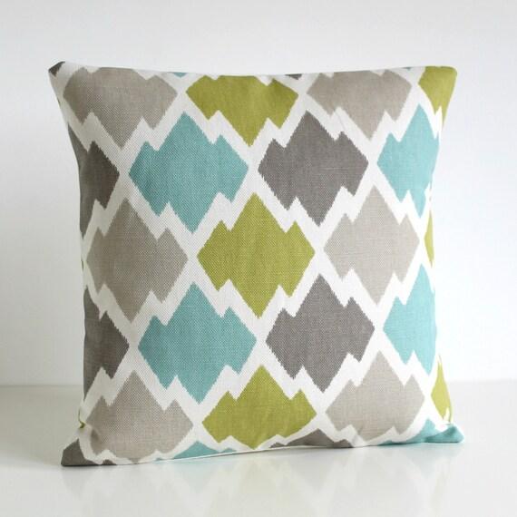 Decorative Cushion Cover, 16x16 Ikat Pillow Cover, 16 Inch Ikat Pillow Sham, Pillow Cover, Ikat Pillow, Accent Pillow  - Ikat Trellis Lush