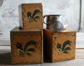 3 Pc Vintage Wooden Canisters