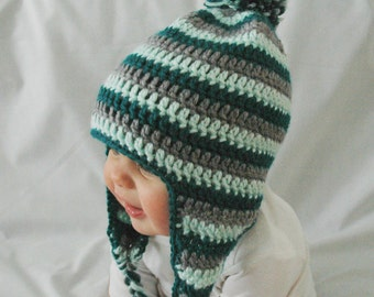 Winter Baby Hat,Mint Green Teal and Gray Stripes,Newborn,EarFlap,Pom Pom,Made to Order,3-6 Months,6-12 Months,Baby Boy Hat, Crochet Hat