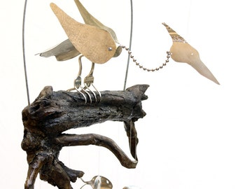 Gnarly driftwood and spoon fish windchimes masculine by for Koi fish wind chime