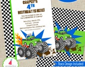 Monster Truck Invitation | Monster Truck Party Invitation | Monster Truck Birthday | Monster Jam | Grave Digger | Amanda's Parties To Go