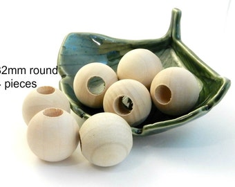 32mm Large Round Unfinished Wood Beads -  4 pieces