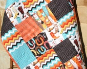 Western Boy Quilt, Baby Luckie by Blend Fabrics, Horseshoes Feather Boots Modern Nursery Blanket Turquoise Orange Brown Cowboy