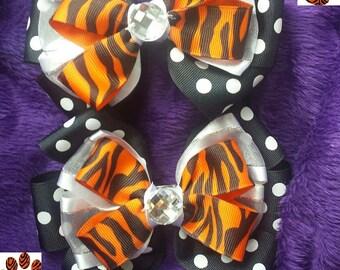 Tiger Bows polka dot- Set of two