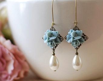 Dusty Blue Flower Bouquet Earrings. Resin Flower Brass Filigree Vintage Cream White Teardrop Pearls Earrings. Bridesmaids Gift