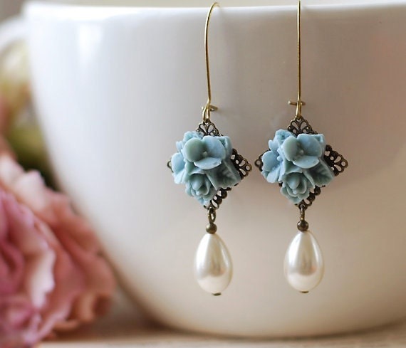 Wedding Flowers In Resin: Dusty Blue Flower Bouquet Earrings. Resin Flower Brass