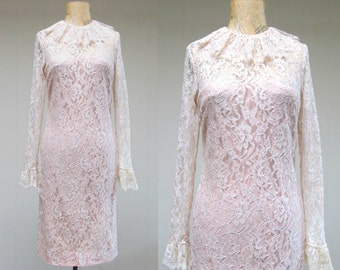 Vintage 1960s Dress / 60s Mod Ivory Lace Party Dress / Extra Small
