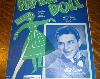 Paper Doll 1943 Vintage Sheet Music by Johnny Black Young Frank Sinatra Wall Decor
