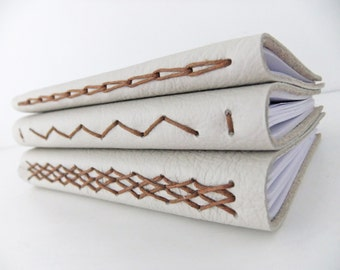 Leather Journal - Zigzag Journal - reclaimed leather notebook, blank journal, Sketchbook, Unlined Journal