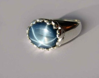 Large Natural Blue Star Sapphire In Sterling Silver Setting, 4.71ct . Size 7