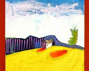House 8 x 8 original acrylic painting, Simple Prairie Landscape VI (SERIES 2), painting of house, little house, landscape painting