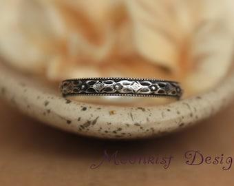 Renaissance Diamond Wedding Band in Sterling - Silver Narrow Diamond Pattern Wedding Ring - Geometric Promise Ring Silver Bridal  Band