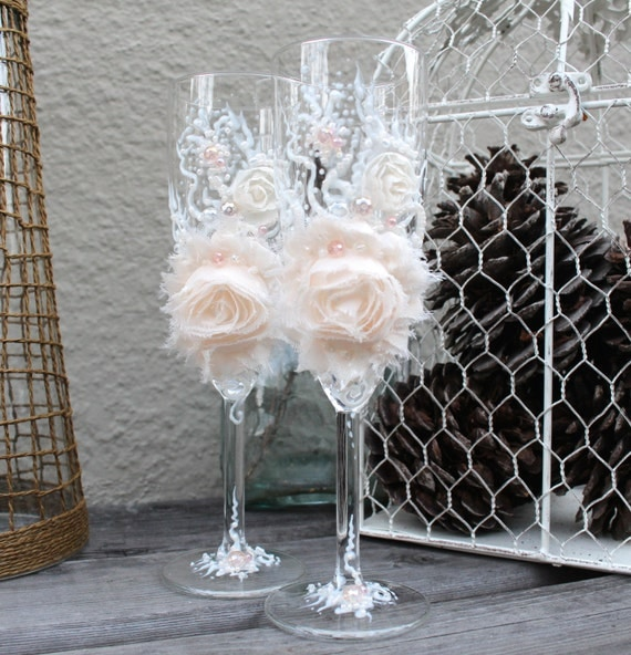 Items Similar To Large Flower Wedding Champagne Glasses In