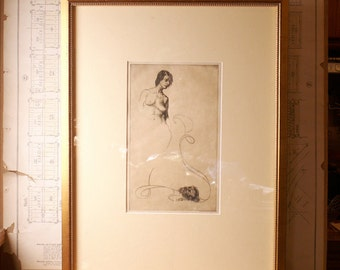 Vintage Framed Etching on Paper by Arion Mueller 'Transitory'
