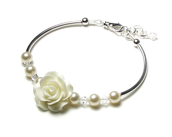 Ivory Rose Beaded Bracelet, Clear Swarovski Crystal, Cream Swarovski Pearl, Bridal Bracelet, Ivory Pearl Wedding Jewelry, Bridesmaids Gifts