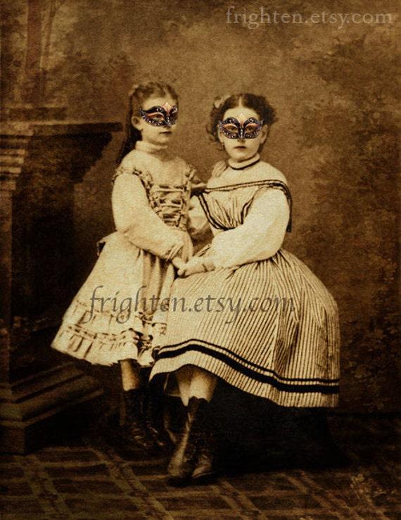 Victorian Girls, Mask Art, Altered Art, Gold Art Print, Gold Wall Art, Sister Art, Mixed Media Collage, Collage Art, Mardi Gras