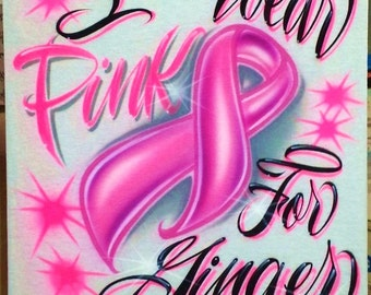 Airbrush T Shirt Breast Cancer Ribbon With I Wear Pink, Cancer Ribbon Shirt, Pink Ribbon Shirt, Ribbon Shirt, Breast Cancer Shirt, Airbrush