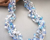 Christmas necklace, Statement necklace, Multi strand, Blue, White, Silver, Icy blue, Ice, Snow, woven, twisted, free form: Blue Frost