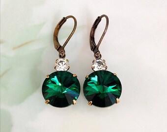Emerald Green Earrings Emerald Green Rivoli Crystal Rhinestone Dangle Earrings May Birthday Prom Wedding Bridesmaid Jewelry
