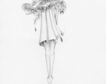 Fashion Illustration Pencil Drawing Giclee Print Original Pencil Drawing Fashion Illustration Black and White Girl Drawing Fashion Wall Art