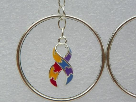 autism ribbon earrings autism hoop by cathyscreationsplus