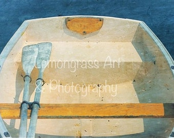 Yellow Boat, Maine Photography, Fine Art Prints, Wooden Rowboat, Oars, Skiff, Dinghy, Ocean Themes, Nautical Wall Art, Home Decor