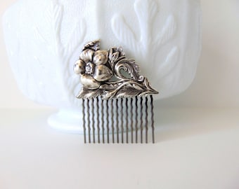 Victorian Hair Comb, Victorian Flower w/ Stem, Floral Hair Comb, Silver Ox Brass, Silver Flower, Gunmetal Hair Comb PIPPA