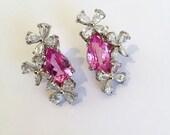 Vintage Sterling Silver Pink Sapphire Estate Earrings Pink Stone Cluster Earrings Pear Flower Earrings Statement Earrings Formal Earrings