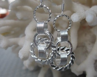 Silver Dangling Circles and More Circles and More Circles Earrings