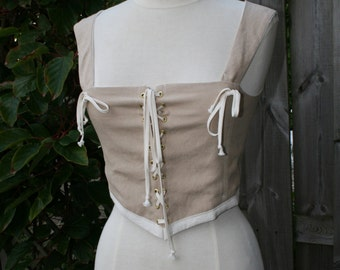 Linen Top with lacing and cotton lining  (Larp, Reenactment, fantasy events, renfaire, medieval, Viking) - adjustable fit - <READY TO SHIP>