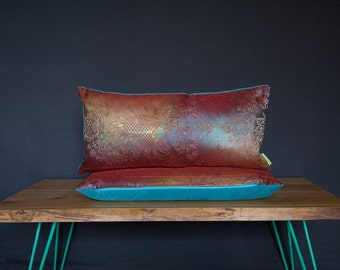 Pillow Pair Upcycled Vintage Kimono Cushions -SET OF 2 -Dark Peacock Pattern -Irridescent -Gold -Maroon -Turquoise Velvet -Feather Pads -ECO