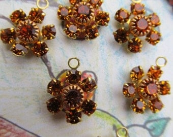 Vintage Swarovski Topaz Crystal Flowers With Hoops