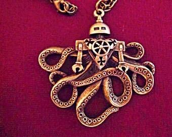 Bronze Pendant Necklace,  Steampunk Sci Fi Large Octopus Robot  Mens Womens Handmade