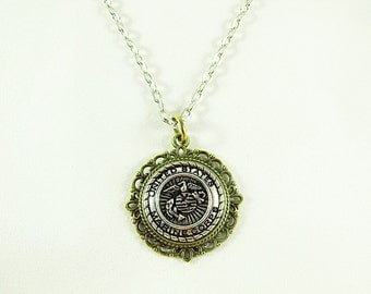 Pendant Necklace,  Marine Corps Women's or Men's Necklace Bronze and Silver, Spouses Necklace