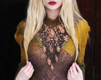 """Dress knitted wool boho bohemian bohochic crochet lace collar galvanized natural oak's leaves brown yellow olive green """"Oak's leaves Queen"""""""