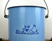 Vintage Blue Enamel Pail, Bucket, Ducks, Nursery Decor