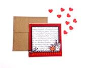 Handmade We Belong Together Milk and Cookies card - Funny Handmade Love Card with brown kraft envelope