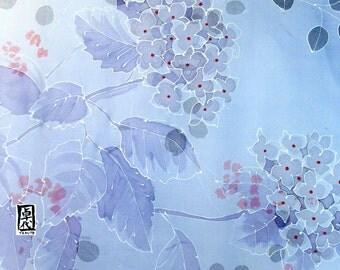 Hand Painted Silk Shawl, Blue Kimono Scarf, Chiffon Scarf, Blue Hydrangea Evening Wrap, Silk Scarves Takuyo, 22x90 inches. Made to order