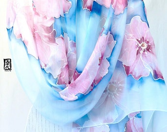 Hand Painted Silk Shawl, ETSY Scarf, Chiffon Scarf, Dreamy Pink Flowers Scarf, Silk Scarves Takuyo, 22x90 inches. Made to order
