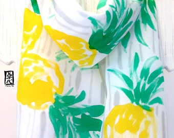 Silk Scarf Hand Painted, Summer Scarf, Tropical Print, Silk Scarves Takuyo, Yellow Pineapples Paradise Scarf, 11x60 inches, Made to order,